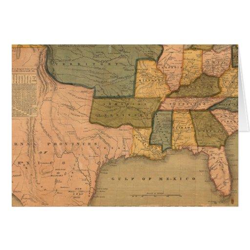 Mapa de los Estados Unidos con George Washington Tarjeta