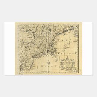 Mapa de los Estados Unidos de América (1783) Pegatina Rectangular