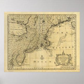 Mapa de los Estados Unidos de América (1783) Póster