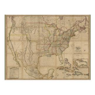 Mapa de los Estados Unidos de América (1823) Postal