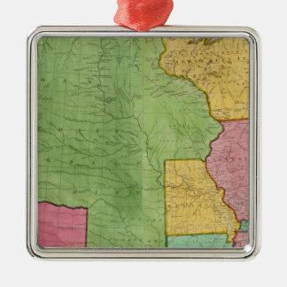 Mapa de los Estados Unidos de América 1833 Adorno Cuadrado Plateado