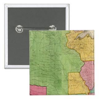 Mapa de los Estados Unidos de América 1833 Pin Cuadrada 5 Cm