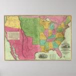 Mapa de los Estados Unidos de América 1833 Póster