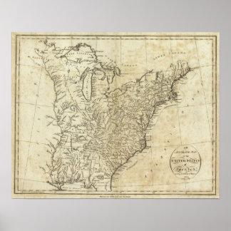Mapa de los Estados Unidos de América 3 Póster