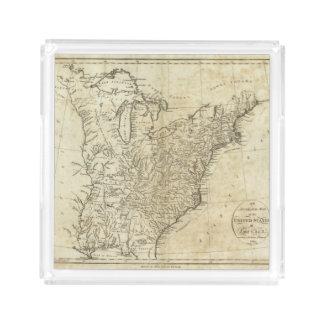 Mapa de los Estados Unidos de América Bandeja Cuadrada