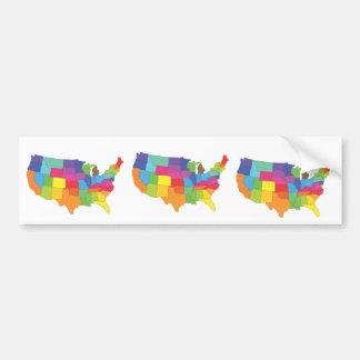 mapa de los Estados Unidos de América Pegatina De Parachoque