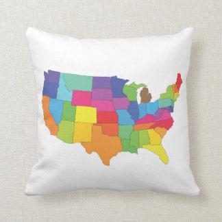 mapa de los Estados Unidos de América Almohadas