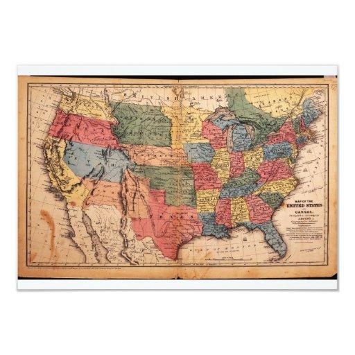Mapa de los Estados Unidos de América en 1853 Invitación 8,9 X 12,7 Cm