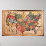 Mapa de los Estados Unidos de América en 1853 Impresiones