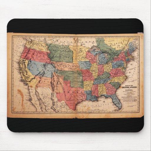 Mapa de los Estados Unidos de América en 1853 Tapetes De Raton