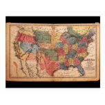 Mapa de los Estados Unidos de América en 1853 Postal