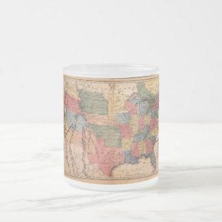 Mapa de los Estados Unidos de América en 1853 Taza De Café Esmerilada