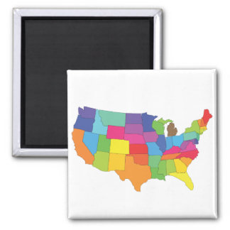 mapa de los Estados Unidos de América Imán Cuadrado