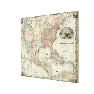 Mapa de los Estados Unidos de América Lona Envuelta Para Galerias