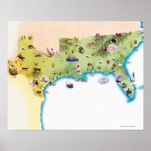 Mapa de los Estados Unidos de América meridionales Poster