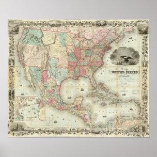 Mapa de los Estados Unidos de América Posters