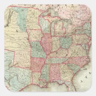 Mapa de los Estados Unidos de América Calcomanías Cuadradas