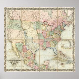 Mapa de los Estados Unidos de América Póster