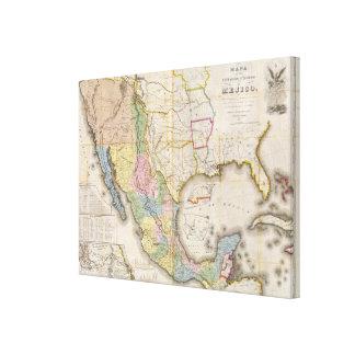 Mapa de los Estados Unidos De Mejico Canvas Print