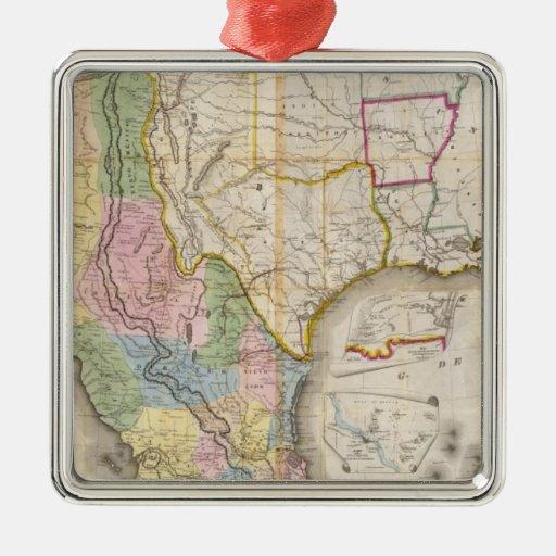 Mapa de los Estados Unidos De Mejico Adorno Cuadrado Plateado