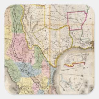 Mapa de los Estados Unidos De Mejico Colcomanias Cuadradas Personalizadas