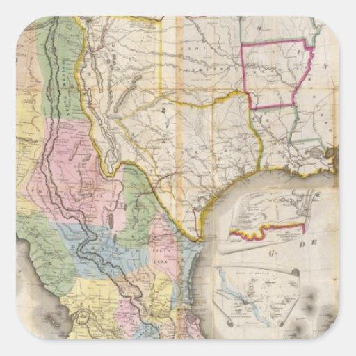 Mapa de los Estados Unidos De Mejico Pegatina Cuadrada