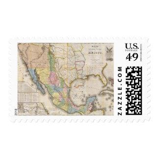 Mapa de los Estados Unidos De Mejico Postage Stamp