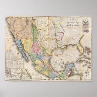 Mapa de los Estados Unidos De Mejico Poster