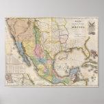 Mapa de los Estados Unidos De Mejico Posters