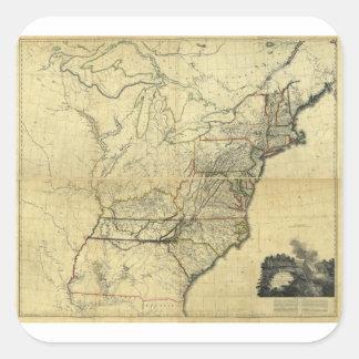 Mapa de los Estados Unidos de Norteamérica (1811) Pegatina Cuadrada