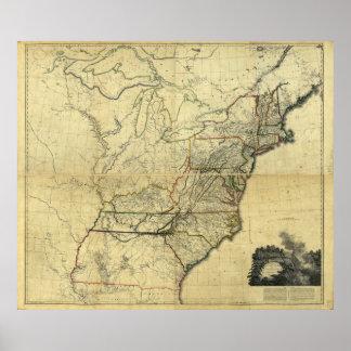 Mapa de los Estados Unidos de Norteamérica (1811) Póster