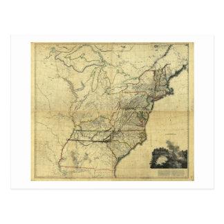 Mapa de los Estados Unidos de Norteamérica (1811) Tarjeta Postal