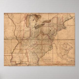 Mapa de los Estados Unidos del joven de Abraham Br Póster