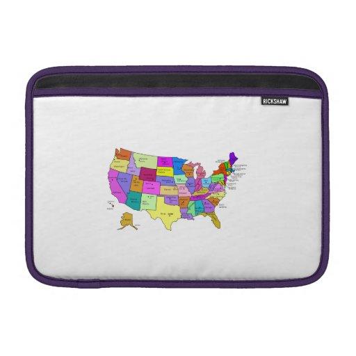 Mapa de los Estados Unidos Fundas Para Macbook Air