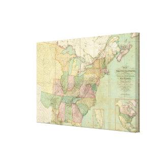 Mapa de los Estados Unidos Lienzo Envuelto Para Galerias