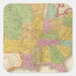 Mapa de los Estados Unidos Pegatina Cuadrada