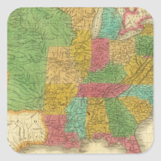 Mapa de los Estados Unidos Pegatinas Cuadradas