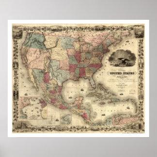 Mapa de los Estados Unidos por Colton 1850 Póster