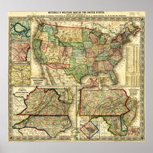 Mapa de los Estados Unidos S. 1861 Augustus Mitche Poster