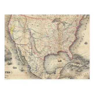 Mapa de los Estados Unidos Tarjetas Postales