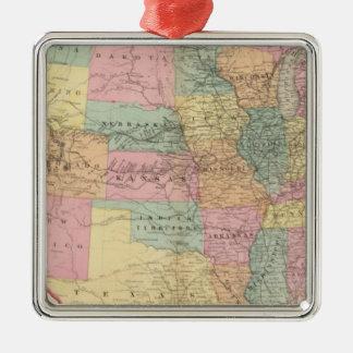 Mapa de los Estados Unidos y de los territorios Adorno Navideño Cuadrado De Metal