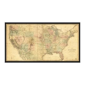 Mapa de los Estados Unidos y de los territorios Lienzo Envuelto Para Galerías