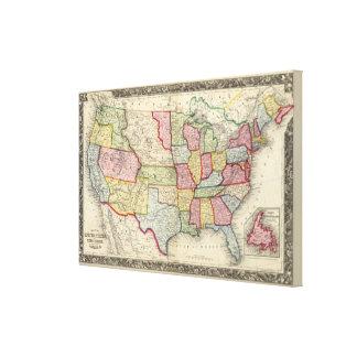 Mapa de los Estados Unidos, y de los territorios Lona Envuelta Para Galerias