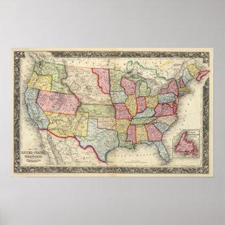 Mapa de los Estados Unidos, y de los territorios Posters