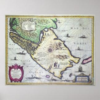 Mapa de los estrechos de Magellan, Patagonia Póster