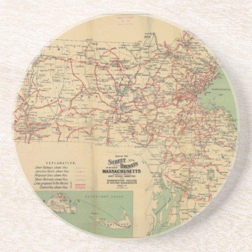 Mapa de los ferrocarriles de calle de Massachusett Posavasos Manualidades