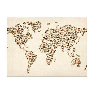 Mapa de los gatos del mapa del mundo impresion de lienzo