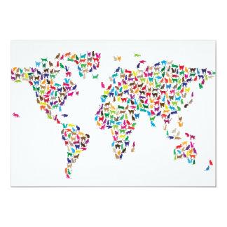Mapa de los gatos del mapa del mundo invitación 12,7 x 17,8 cm