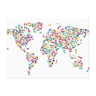 Mapa de los gatos del mapa del mundo lona envuelta para galerías