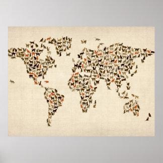 Mapa de los gatos del mapa del mundo póster